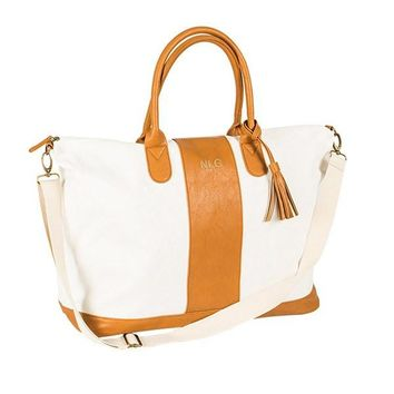 Personalized Brown Striped Faux Leather Oversized Weekender Tote