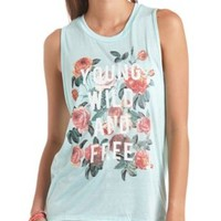Young, Wild & Free Backless Graphic Muscle Tee - Mint