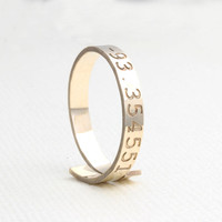 14k gold filled personalized coordinates adjustable ring, wrap ring