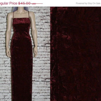 40% OFF 90s Crush Velvet Bodycon Maxi Dress Boho Festival Grunge Hipster Goth Pastel Whitch Witchy 70s XL L 12 14 wedding crinkle wine burgu