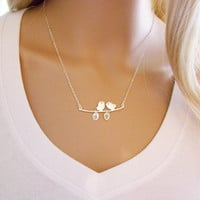 Personalized Necklace - Custom Initial Necklace - Sterling Silver Initial Necklace - Bird Branch Necklace - Gift for Her