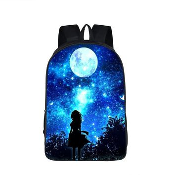 Galaxy / Universe / Unicorn / Cheshire Cat School Backpack For Teeange Girls School Bags Starry Night / Space Star Schoolbags