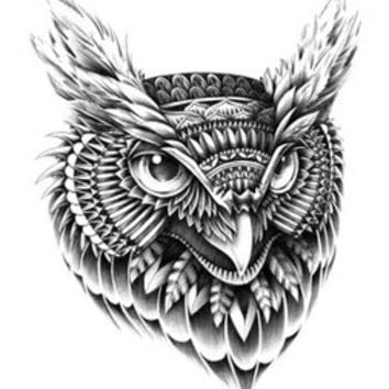 Min.order is $10(mix order)Exclusive Black Tattoo style Owls Head Computer Stickers Personalized laptop sticker[Single]