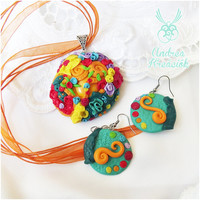 Coral Rainbow Jewelry | Polymer Clay necklace and earrings in set | Ocean coast fantasy for Women