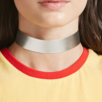 Metallic Faux Leather Choker