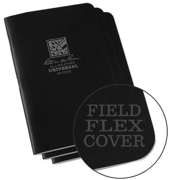 """Rite In The Rain® 771FX All-Weather Black Universal Stapled Notebook, 4-5/8"""" x 7"""", 3 Pk"""