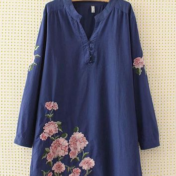 Casual Embroidery V-Neck Long Sleeve Shirt