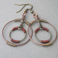 Antiqued Copper and Brass Bronze Wire Wrapped Double Hoop Earrings