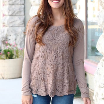 Lay the Lace Overlay Long Sleeve {Mocha}