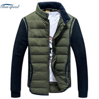 New Arrival Design Special Men Jacket Winter Stand Collar Patchwork Knitting Sleeve Slim Cold Proof Mens Quilted Jackets 2 Color Plus Size 4XL = 1958661124