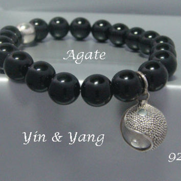 Harmony Ball Bracelet Yin & Yang with Agate Beads and 925 Sterling Silver Harmon
