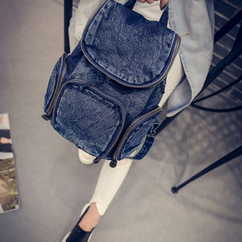 Back To School On Sale Hot Deal College Casual Stylish Comfort Korean Vintage Rinsed Denim Denim Ladies Bags Backpack [6582854727]