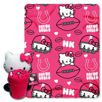 Colts  40x50 Fleece Throw and Hello Kitty Character Pillow Set