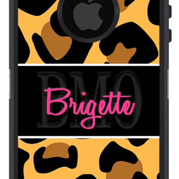 OTTERBOX DEFENDER iPhone 6 5 5S 5C 4/4S iPod Touch 5G Case Custom Big Leopard Cheetah Band Pattern  - 3 Letter Monogram Personalized