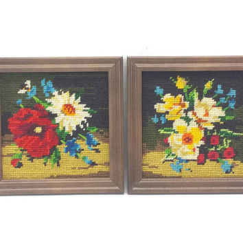 Vintage Framed Needlepoint Pictures, Cross Stitch Flowers, Floral Tapestry, Handmade Art, Gallery Wall Hanging, Completed Crewel Embroidery