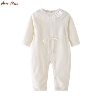 Auro Mesa Baby Knitted Romper White Lace O-neck one piece baby clothes Cotton Soft Infant Girl Jumpsuit