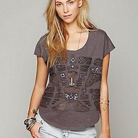 Free People  Clothing Boutique > Cotton Slub Embroidered Tee