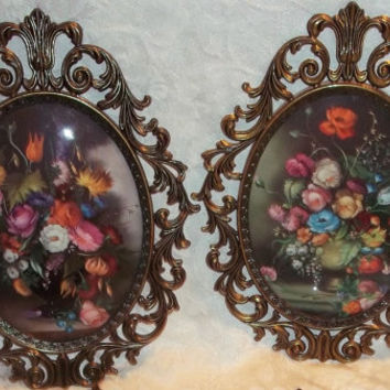 Italian Convex Glass Oval Floral Wall Art Picture With Ornate Metal Frame ITALY