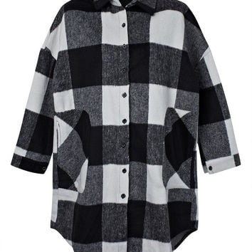 Plus Size Women Single Breasted Asymmetric Plaid Jacket