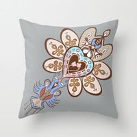 Flowering Heart Throw Pillow by Vanya