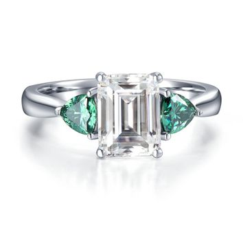 5.3Carat ct DEF Color Emerald Moissanite Diamond Engagement Ring Wedding Ring Genuine 14K 585 White Gold Fine Jewelry