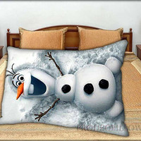 """Snowman Olaf - 20 """" x 30 """" inch,Pillow Case and Pillow Cover."""