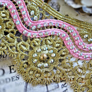 Beautiful Beaded Metallic Gold Lace Trim With Pink Scallops, Couture Design, Dressmaking, Sewing, Bridal, Wedding Lace, Crafting Lace, 119B