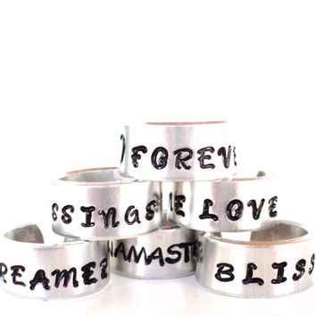 You Pick Ring One Love Forever Dreamer Bliss Blessings Namaste Yoga Unique Gift For Her or Him Christmas Stocking Stuffer Under 20 Item K16