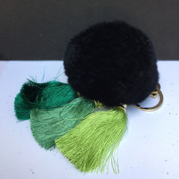 Green Gradient Trio Ice Silk Tassel fur pom pom keyring Rex Rabbit bag charm ball fur charm