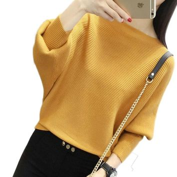 Batwing Sleeve Loose Women Pullover Sweater Yellow Knit Fashion Female Pull New Arrival Striped Pullovers and Sweaters