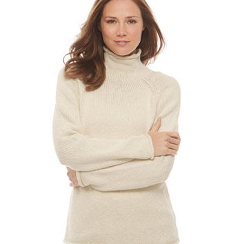 Cottage Cotton Funnelneck Sweater: Turtlenecks | Free Shipping at L.L.Bean