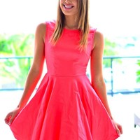 Pink Sleeveless Fit and Flare Dress with High Neckline