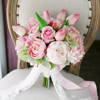 Exquisite Light Pink Wedding Bridal Bouquets Hydrangea Peony Moisturizing Feel T