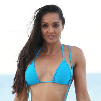 Turquoise  Full Curtain Triangle Bikini Top