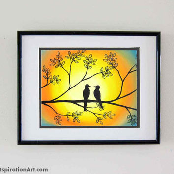 Love Birds Prints Original Painting - Whimsical Animal Art - Romantic Gifts Cute Decor Yellow Wall Art - Inexpensive Art Bird Art Prints