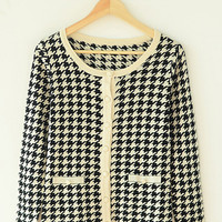 Houndstooth Print Long Sleeve Cardigan