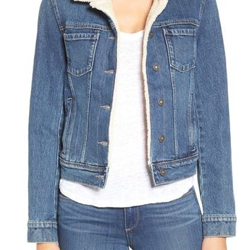 Paige Denim 'Leo' Genuine Shearling Denim Jacket | Nordstrom