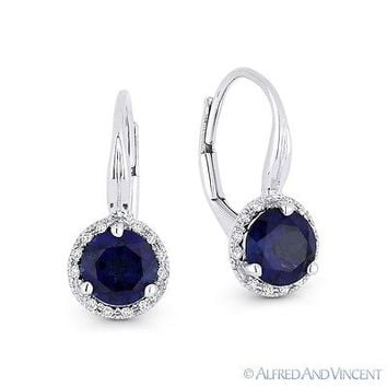 1.60ct Blue Lab-Sapphire & Diamond 14k White Gold Drop Leverback Baby Earrings