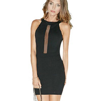Sleeveless Open Back Bodycon Dress with Mesh Cut-out