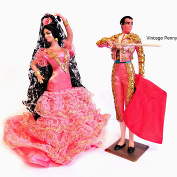 Vintage Souvenir Dolls / Marin Spain Spanish Flamenco Dancer / Matador Dolls