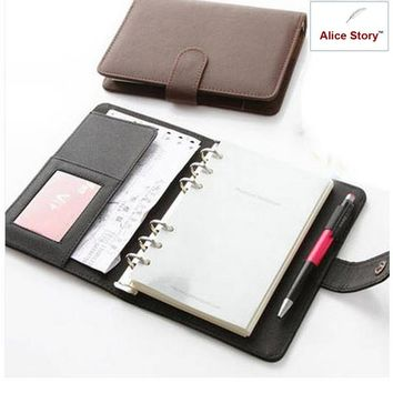 A5 And A6 Business Elegant Pu Leather Cover Spiral Notebook Planner Organizer Agenda Work Journal Schedule Daily Memo Gift