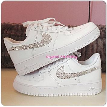 Customized Nike Air Force 1 Running Shoes Sneakers Workout Bling Swarovski Crystals Si