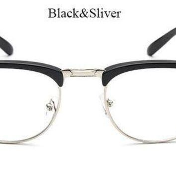 2856cb19512 V W E Men Half Rimless Rectangular Non Prescription Glasses Frame