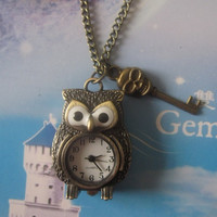 Antique Bronze Owl Pocket Watch Necklace with by Fashionjewellery1