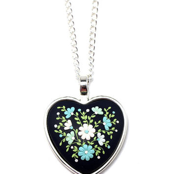 """Floral Pendant Necklace """"Beauty"""" White Mint Green Polymer Clay Applique Floral Embroidery St. Valentine's Gift for Girlfriend Romantic Gift"""