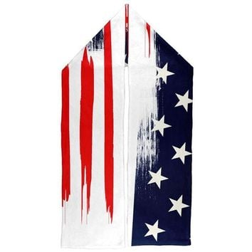 DCCKU3R 4th of July Patriotic Brushed American Flag Warm Fleece Scarf