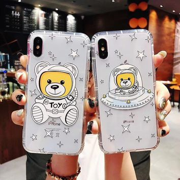 Hot cute spaceship star moschin bear soft cover case for iphone 6 S 7 7 plus 8 X XS XR XS MAX Anti-drop transparent phone coque