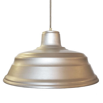 "Barn 14"" Metal Shade Pendant Light- Chrome Cord"