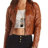 Zip-Up Faux Leather Moto Jacket by Charlotte Russe - Cognac