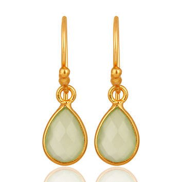 Gold Plated Sterling Silver Faceted Green Chalcedony Bezel-Set Teardrop Earrings